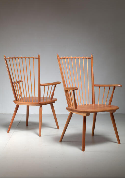 Bloomberry - Albert Haberer Pair of Arts and Crafts Chairs, Germany, circa 1950