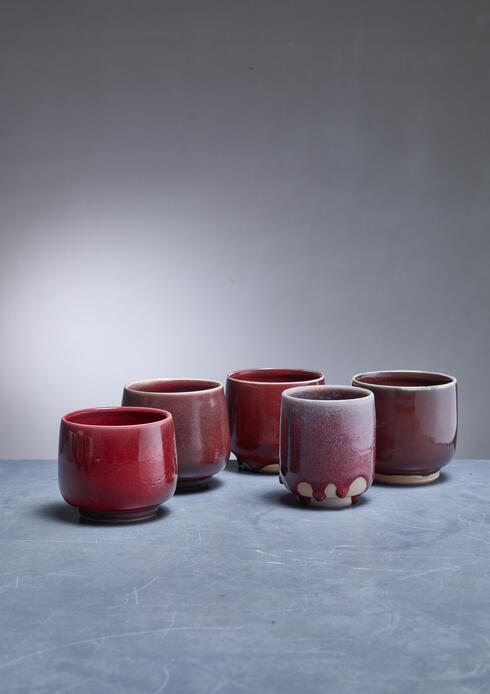 Bloomberry - Rolf Palm set of five ceramic vases, Sweden, 1990s
