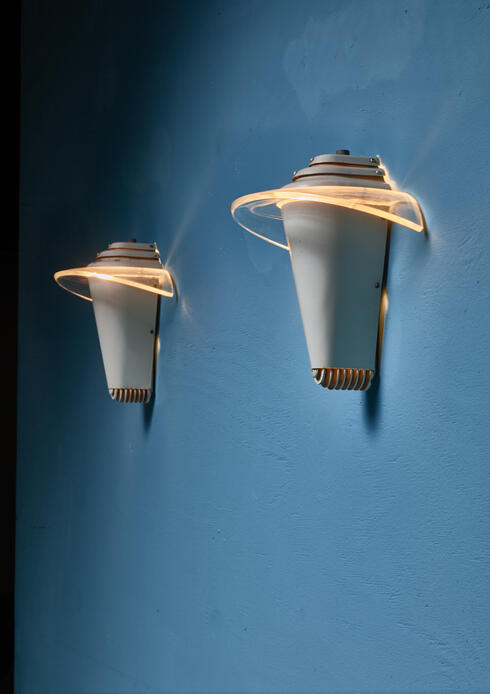 Bloomberry -  Pair of Eralite MFG metal and plexiglass wall lamps, England, 1940s