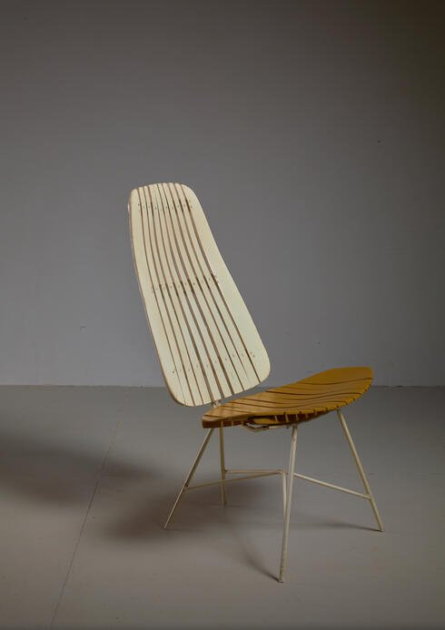 Bloomberry - Duo-Tone Slat Lounge Chair by Arthur Umanoff