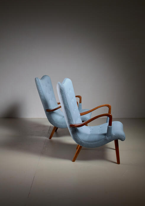 Bloomberry - Pair of Swedish Curved Beech and Wool Lounge Chairs, 1940s