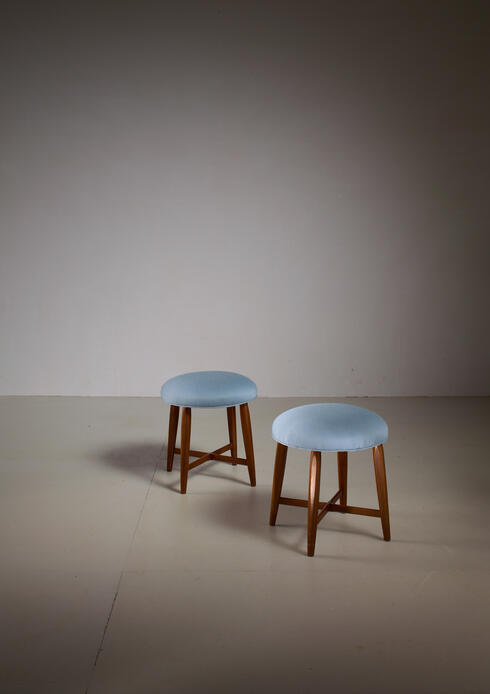 Bloomberry - Pair of Danish Stools with Cross-Frame and Blue Wool Upholstery, 1940s