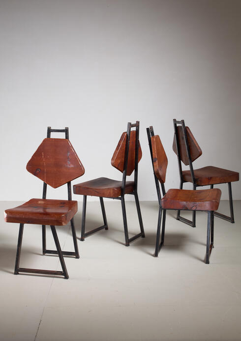 Bloomberry - Set of Four Pine and Iron Chairs, France, 1950s