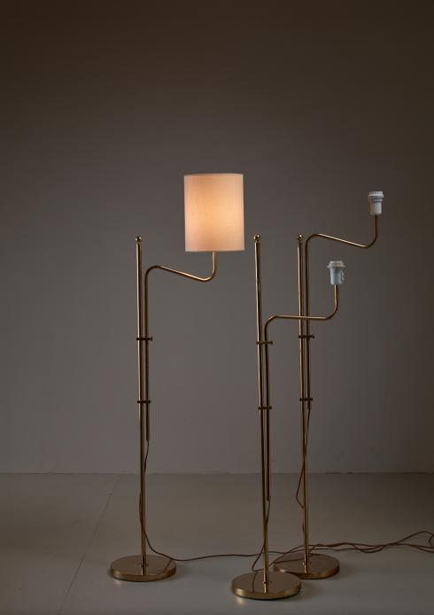 Bloomberry - Set of Three Bergboms Brass Floor Lamps, Sweden, 1960s