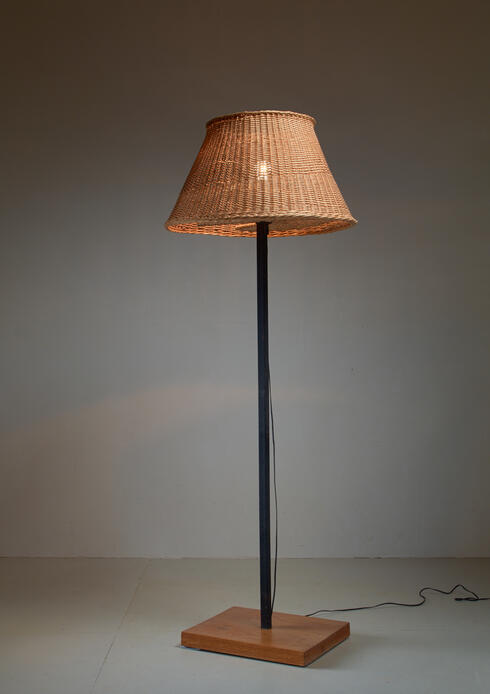 Bloomberry - Jean Touret Iron and Wicker Floor Lamp for Marolles, France, 1950s