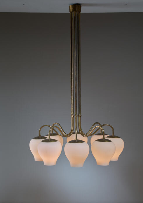 Bloomberry - One of Two ASEA Chandeliers in Brass with 8 Opaline Glass Shades