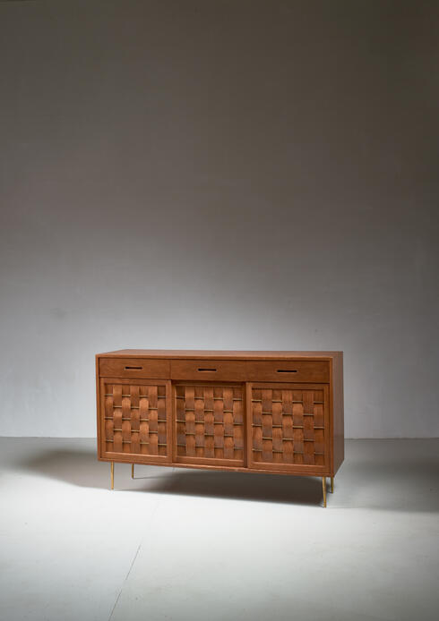 Bloomberry - Edward Wormley Woven Credenza with Brass Legs and Details for Dunbar, 1950s