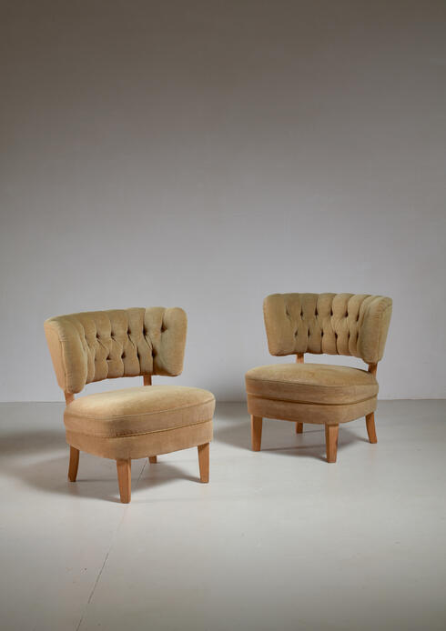 Bloomberry - Otto Schulz Pair of Lounge Chairs by Jio Möbler, Sweden, 1940s