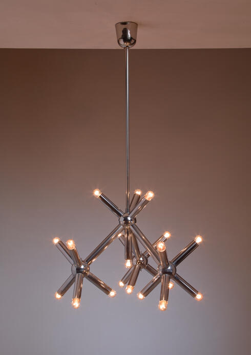 Bloomberry - Modernist Metal Chandelier, Germany, 1960s