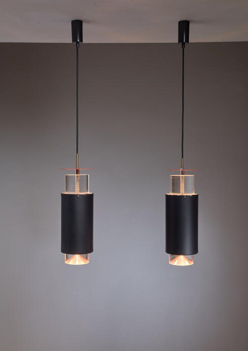 Bloomberry - Pair Minimalist Simon Henningsen Metal and Plexiglass Pendants, Denmark, 1960s