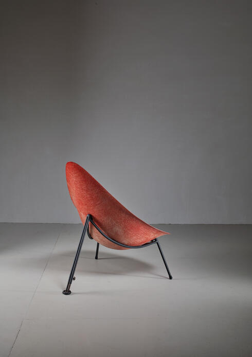 Bloomberry - Merat Early French fiberglass easy chair in red, 1950s