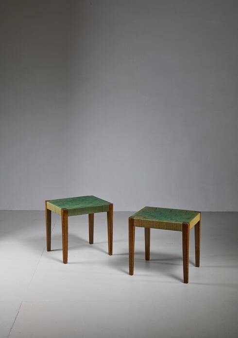 Bloomberry - Axel Larsson pair of webbed stools, SMF Bodafors, Sweden, 1920s
