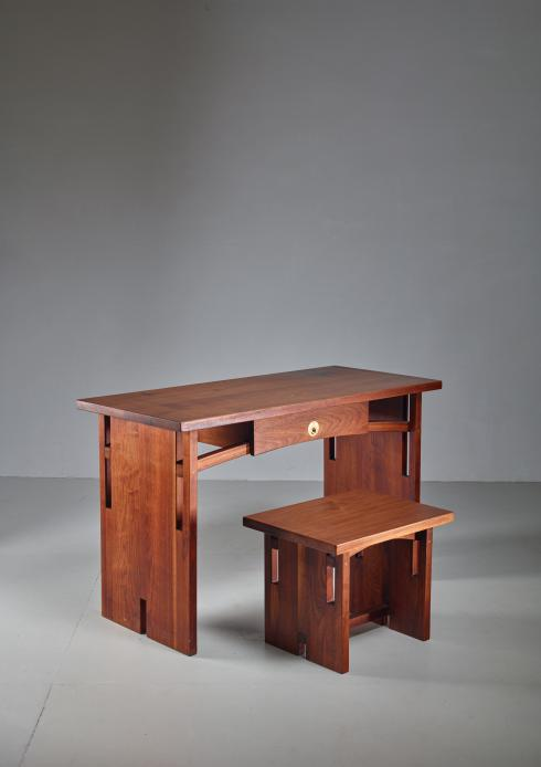 Bloomberry - David Barr Walnut Desk and Matching Stool, USA